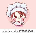 cute bakery chef girl welcome... | Shutterstock .eps vector #1727013541