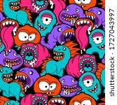 seamless pattern with cartoon...   Shutterstock .eps vector #1727043997