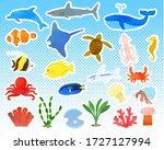 various sea creatures set  ... | Shutterstock .eps vector #1727127994