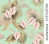 tropical floral boho dried palm ...   Shutterstock .eps vector #1727129704