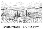 countryside engraving. vintage... | Shutterstock .eps vector #1727151994