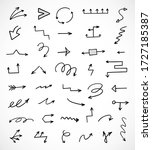 vector set of hand drawn arrows | Shutterstock .eps vector #1727185387