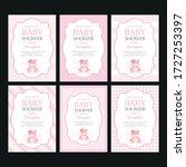 a set of cute pink templates... | Shutterstock .eps vector #1727253397