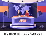 tv breaking news broadcasting ... | Shutterstock .eps vector #1727255914