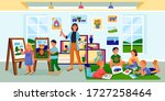 kids art class  education ... | Shutterstock .eps vector #1727258464