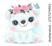 cute little polar bear portrait ...   Shutterstock .eps vector #1727274901
