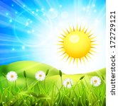 sunny day on the meadow. vector ... | Shutterstock .eps vector #172729121