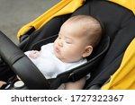 asian baby sleep inside stroller | Shutterstock . vector #1727322367