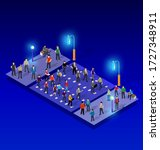 ultraviolet neon street lamp... | Shutterstock .eps vector #1727348911