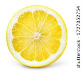 Small photo of Lemon slice isolate. Lemon top view round slice. Lemon slice with zest isolated. With clipping path.