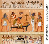ancient egypt. anubis and... | Shutterstock .eps vector #1727389354