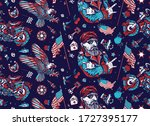 bikers pattern. bearded biker... | Shutterstock .eps vector #1727395177
