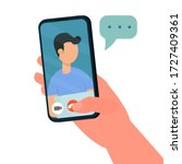 hand holding phone  video call  ... | Shutterstock .eps vector #1727409361