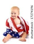 Baby and American Flag - stock photo
