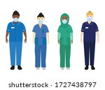 nhs hospital staff wearing face ... | Shutterstock .eps vector #1727438797