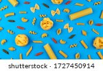 Different Pasta Types On Blue...