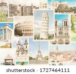 vintage travel background with... | Shutterstock . vector #1727464111