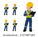 set of industrial worker with... | Shutterstock .eps vector #1727487181