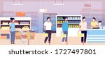 queue in supermarket cashier.... | Shutterstock .eps vector #1727497801