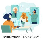 online video conference  video... | Shutterstock .eps vector #1727510824