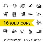 hobby icons set with book...