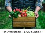 Wooden Box With Fresh Farm...