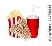 popcorn with a drink and movie... | Shutterstock .eps vector #172756565