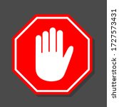 simple red stop road sign with... | Shutterstock .eps vector #1727573431