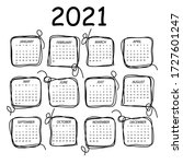 calendar 2021. black and white... | Shutterstock .eps vector #1727601247