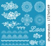 Set of lace, ribbons, flowers - for design and scrapbook - in vector - stock vector