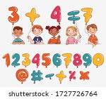 funny kids with balloons. multi ... | Shutterstock .eps vector #1727726764