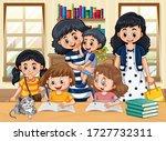 family member with kids doing...   Shutterstock .eps vector #1727732311