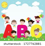 cartoon children with abc... | Shutterstock .eps vector #1727762881