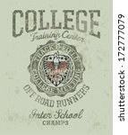 Track & field college meeting - Vintage athletic artwork for boy sportswear in custom colors