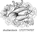 outline siamese fighting fish... | Shutterstock .eps vector #1727774707