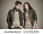 modern couple in leather... | Shutterstock . vector #172781555