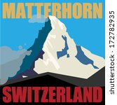 Mount Matterhorn (Monte Cervino) - peak in the Alps, mountain adventure background, vector illustration