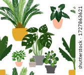 pattern cacti and succulents....   Shutterstock .eps vector #1727863621