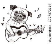 pug dog playing guitar... | Shutterstock .eps vector #1727872114
