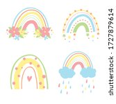 vector cute rainbow with clouds ...   Shutterstock .eps vector #1727879614