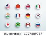 world flags round 3d button...