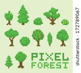 pixel art forest isolated... | Shutterstock .eps vector #172789067