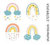 vector cute rainbow with clouds ... | Shutterstock .eps vector #1727891914
