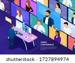 video conferencing concept.... | Shutterstock .eps vector #1727894974