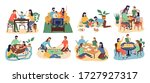 board games family set. stay at ... | Shutterstock .eps vector #1727927317