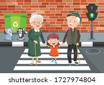 traffic concept with funny... | Shutterstock .eps vector #1727974804