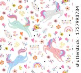 childish seamless pattern with... | Shutterstock .eps vector #1727993734