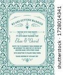 vintage wedding invitation.... | Shutterstock .eps vector #1728014341