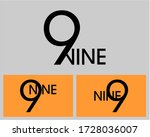 nine  numeral and word logo for ... | Shutterstock .eps vector #1728036007