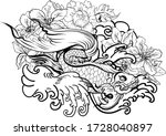 outline siamese fighting fish... | Shutterstock .eps vector #1728040897